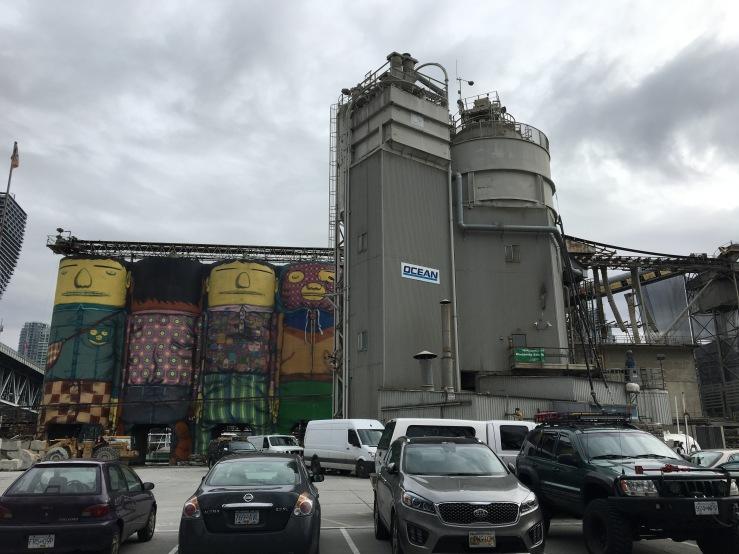 Concrete silos on Granville Island.